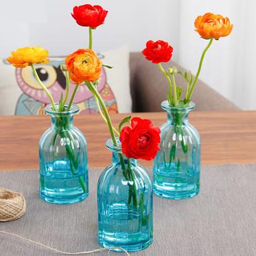 蓝色精灵瓶插花洋牡丹室内客厅办公桌美观趣味花卉植物
