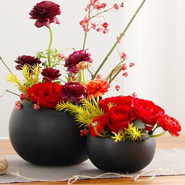 瓶插花盆栽高档黑哑光创意三角花瓶客厅新年办公室装扮花卉