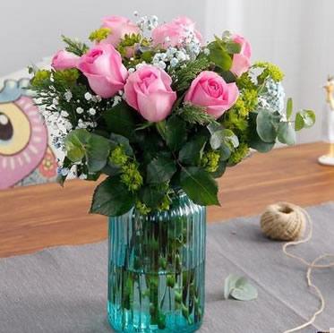 玫瑰瓶插花简约玻璃瓶办公桌茶几餐桌观赏花卉